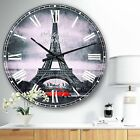 Designart 'Eiffel and Old Red Car' Landscape Oversized Wall CLock