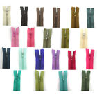 "No.3 CLOSED END NYLON ZIPS 10"" 12 14"" 16 18"" +49 COLOURS+ BUY 5 ZIPS GET 5 FREE"