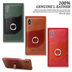 For i Phone XS Max XR X 8 7 Luxury Genuine Leather Ring Stand Wallet Case Cover