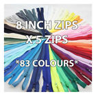 "8 INCH AUTO LOCK CLOSED END ZIP NYLON No.3 ""83 COLOURS"" ZIPPER SEWING  CUSHIONS"