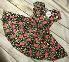 NWT Dot Dot Smile Cup Sleeve Twirly Dress Summer Hawaii Floral Print Black
