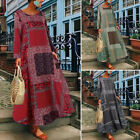 Women Long Sleeve Floral Print Kaftan Shirt Dress Oversize Long Maxi Dress Plus