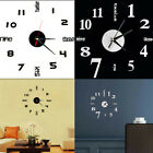 US STOC Modern DIY 3D Number Wall Clock Mirror Sticker Home Office Acrylic Decor