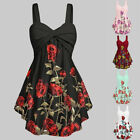 Women's Casual Low-Cut Sleeveless Dress V-Neck Backless Printed Dresses Party GI