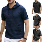 Men's Stripe Hooded Pullover Shirt Short Sleeve Linen T-shirt Slim Fit Tops GIFT