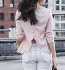 Urban Otfitters Blush Scallop Open back Blouse Top Button