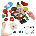 Wood Kitchen Fruit Vegetable Food Pretend Role Play Cutting Set Kids Funny Toys