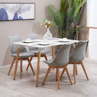 Rectangular Design Dining Table and Chairs Set Retro Plastic Lounge Dining Room