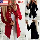 US Women Slim Fit Blazer Open Front Suit Jacket Breasted Coats Tops US10-16 GIFT