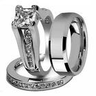 Princess Cut CUBIC Couple Rings Stainless Steel Wedding Rigs Set For Women Men