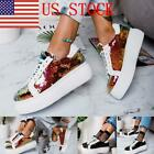 US Womens Lace Up Platform Plimsolls Trainers Sneakers Casual Shoes Size GIFT