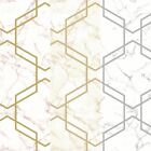 Holden Décor Hexagon Geo Pattern Marble Effect Metallic Glitter Wallpaper
