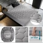 "Bedsure Quilted Fitted Mattress Pad Cover Protector Stretches Up To 18"" Grey image"