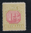 AUSTRALIA SG D 93 11/2d postage Due *Disturbed Red Background*MNH