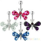 Rhinestone Butterfly Ball Barbell Bar Belly Button Navel Ring Body Piercing Code