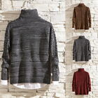 Men's Casual Solid Color Cable-knit Turtleneck False Two-piece Pullover Sweater