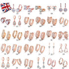 Wholesale Womens Charms Cubic Zirconia Rose Gold Filled Earrings Jewellery Lots