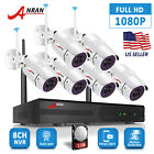 8CH 1080P Wireless Home Security Camera System IP66 CCTV WiFi 2TB HDD Waterproof