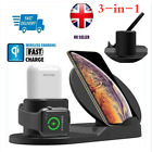 3 in 1 Qi Wireless Fast Charger Dock Stand Holder For Mobile Phone XS 8 iWatch