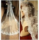 White Ivory Wedding Veil One-tier Cathedral Lace Applique Edge Bridal Veils