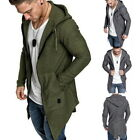 Fashion Mens Hooded Solid Trench Coat Jacket Cardigan Long Sleeve Coat Outwear