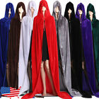 Velvet Cloak Robe Cape Man Women Cosplay Gothic Witch Princess Halloween Hooded