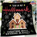 NEW Christmas Movie Watching Quilt Washable PreShrunk Poly Cotton Quilt Us Stock image