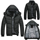Mens Black Puffer Jacket Warmer Overcoat Outwear Padded Hooded Down Winter Coats