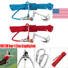 10M/20M High Strength Outdoor Rock Rescue Rope&Grappling Steel Hook Climbing US