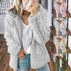 Women's Long Sleeve Knitted Fluffy Coat Cardigan Sweater Zipper Outwear Jacket
