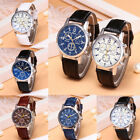 Fashion Blue-ray Glass quartz Wrist Watches Men's Boy's Leather Strap Watch image