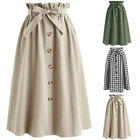 Women's Vintage A-line Stretch High Waist Skater Flared Pleated Midi Skirt Dress