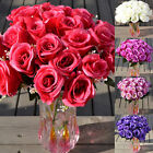 24 Head Artificial Rose Bouquet Silk Fake Flowers Wedding Party Home Decor Usa