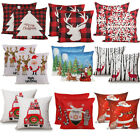 "2PCS 18 x 18"" Christmas Throw Pillow Covers Couch Cases Cotton Linen Santa Claus image"
