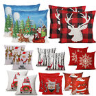 2pcs Merry Christmas Retro Red Truck Trees Snowflakes Holiday Cotton Linen Cover image
