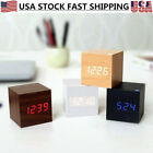 Modern Wooden Cube Digital LED Desk Alarm Clock Thermometer Timer Voice Control
