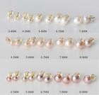 14K Gold Freshwater Cultured Pearl Button Stud Earrings 925 Sterling Silver Set