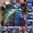 Galaxy Comforter Set Reversible Quilt Sky Outer Space Bedding Fitted Sheet Set image