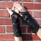 Women Steampunk Snaps Fingerless Gloves Leather Layered Scales Bracers Mittens