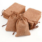 10/50x Burlap Wedding Favor Bags Line Jewelry Pouches Jute Hessian Gift Bag