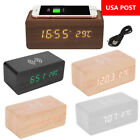 Wooden Wood Digital LED Desk Alarm Clock Thermometer Qi Wireless Charger USA