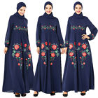 Abaya Muslim Women Floral Embroidery Long Dress Dubai Kaftan Party Robe Jilbab