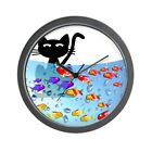 CafePress Whimsical Cat And Fish 1 Unique Decorative 10 Wall Clock (1120393011)
