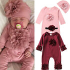 NEWBORN INFANT BABY ROMPER BABY GIRL BABYGROWS OUTFITS CLOTHES SET BODYSUIT HAT
