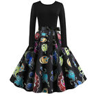 Womens Vintage Long Sleeve Halloween Housewife Evening Party Evening Dress KH