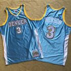 NEW Allen Iverson Denver Nuggets 3 Blue Throwback Swingman Stitched Jersey