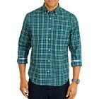 NAUTICA Men's Tidal Green Plaid Classic Fit Stretch Button-Front Shirt 3XL TEDO