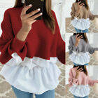 Fashion Womens Ruffled knitted Jumper Sweater Patchwork Loose Shirt Streetwear