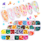 12-Grids Holographic Nail Glitter Sequins Maple Leafs Star Round Nail Art Flakes