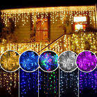 96-1500 LED Hanging Icicle Curtain Lights Fairy Xmas String Wedding Lamp Outdoor